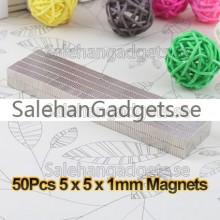 5x5x1mm Fyrkantiga Starka Magneter, 50-Pack