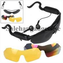 Smart Bluetooth Solglasögon, Stereo Headset Med 3 Utbytbara Objektiv För Musik Och Telefon