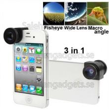 Fisheye Lens + Vidvinkelobjektiv + Macro Lens. Foto Kameralinsen För IPhone