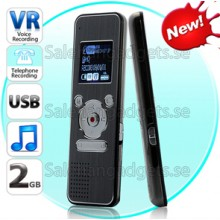 Digital Voice Och Telefon Inspelare - 2GB Minne Flash Drive, MP3-Spelare, FM-Radio