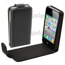 Väva Läderfodral Till IPhone 4 & 4S (Svart)