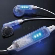 Blue Pulserande LED Hörlurar - Belysta Öron Proppar