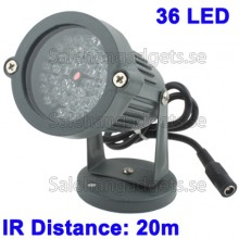 36 LED-Hjälpljus För CCD-Kamera, IR Avstånd: 20m