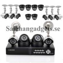 16 Kameraövervakningssystem- 8 Indoor CCTV Kameror, 8 Utomhus, H264 DVR, 1TB