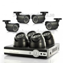 8 Kameraövervakningssystem - 4 Inomhus CCTV Kameror, 4 Utomhus, H264 DVR