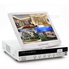 4CH DVR Med 10 Tums Skärm - H.264, D1-Upplösning, HDMI-Port