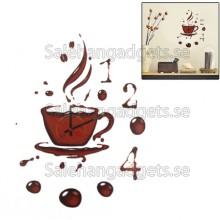 Gör Det Själv Coffee Kupp Väg Sticker Klocka