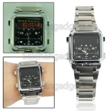 Analog & Digital Rostfritt Stål Armbandsur, Dual Time Display, 3 Larm