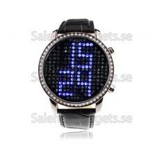 Fancy Crystal Digital Watch Med Blå LED Tidsvisning