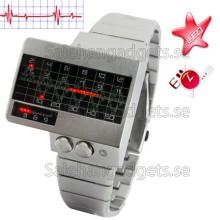All Metal Röd LED Watch