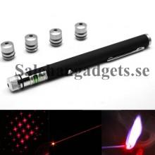 4MW 650nm Röd Laser Penna Med Fem Olika Laserljusmönster, Inbyggt Batteri