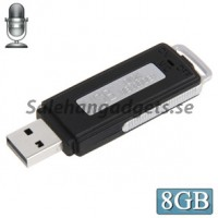 USB Voice Recorder Med 8GB Minne, USB Flash Disk, Svart