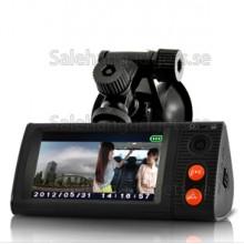 Dubbel Bilkamera, Blackbox DVR Med 3 Tums Pekskärm, GPS Logger Och 3D G-Sensor