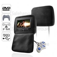 7 Tums Nackstöd DVD-Spelare Med Emulator + FM-Sändare (Par)
