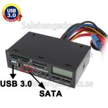 5,25 Tums USB 3,0 Media PC LCD Instrumentbräda, Kortläsare Med Fläktstyrning
