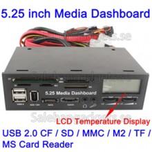 5,25 Tums Media PC LCD Dashboard Kortläsare Med Fläktstyrning