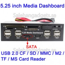 5,25 Tums Media PC Dashboard Kortläsare, USB 2,0, SATA