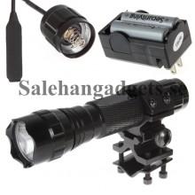 Jakt & Vapen Fiklampa, 1600Lm, Uppladdningsbara Batterier, Laddare, Remote Pressure Switch