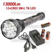 12X CREE XM-L T6 LED 13000Lm LED Ficklampa + 3x 26.650 Batteri + Laddare