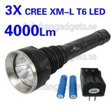 4000Lm 3X CREE XM-L T6 LED Super Bright Vattentät Ficklampa