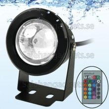 10W RGB LED Underwater Ljus Med Fjärrkontroll (Svart)