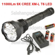 9x CREE XM-L T6 LED 11000Lm LED Ficklampa Ficklampa + 3x 26.650 Batteri + Laddare