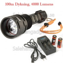 3x CREE T6 LED 4000Lum, Dykning Ficklampa, 100m