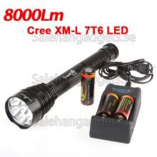 7 LED Ficklampa, Cree XM-L T6 8000LM, Batterier, Laddare