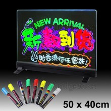 Färgglada LED Lysrör Message Tavla, 8 St Överstrykningspennor, Storlek: 50 X 40 Cm