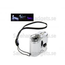 60X Mini Mikroskop Magnifier LED Lupp, Ljus Valuta