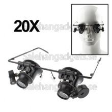 Jeweler Glasögon, 20X Förstoring Lupp, LED-Belysning