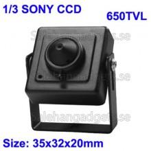 1/3 SONY Färg 650TVL Mini CCD-Kamera, Spion Kamera, Storlek: 35 X 32 X 20mm