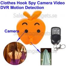 Klädkrok Spionkamera, Motion Detektion, Fjärrkontroll, 5M Pixel