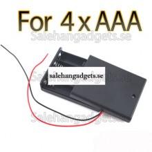 """Förvaringslåda Av Plast Väska Hållare För 4 X AAA 3A Celler Batteri Med 6 """"Wire Leads"""