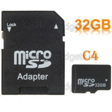 High Speed ​​Class 4 Micro SD (TF) Minneskort 32GB + SD Adapter
