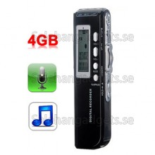 4GB Digital Diktafon, MP3-Spelare, Support Telefon Inspelning, VOX-Funktion