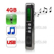 Digital Diktafon MP3-Spelare, Lösenord Lås Inspelning Monitor/ VOR-Funktionen (4GB)